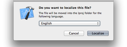 Pseudo Localization for Cocoa Apps, Xcode Do You Want To Localize This File Dialog, screenshot