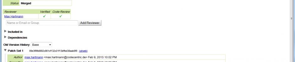 Code Reviews 2.0 mit Gerrit Git und Jenkins, gerrit Browser 5, screenshot