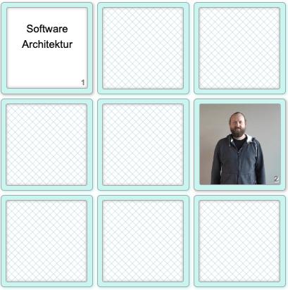 """DGS Memory mit zwei aufgedeckten Karten: einem Video und dem Begriff """"Software Architektur"""""""