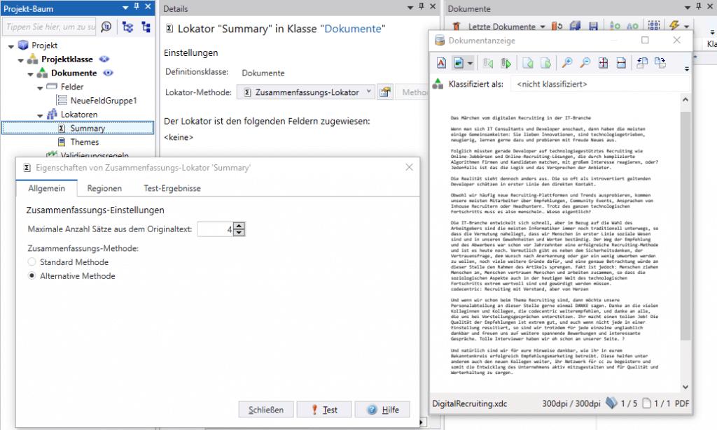 KTM: NLP Zusammenfassungs-Lokator Eigenschaften