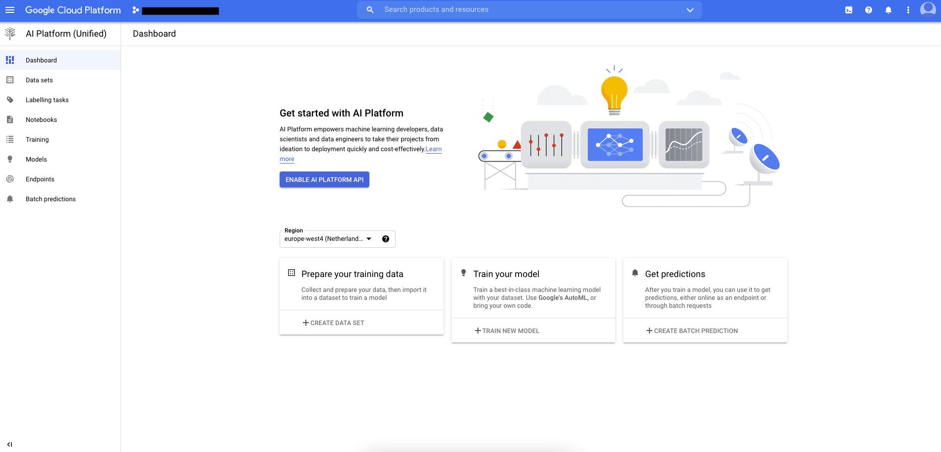 Startseite der AI Platform (Unified)