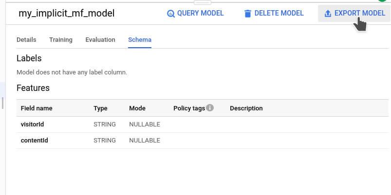 Export Model-Funktionalität von Big Query ML